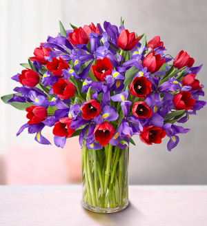 Deluxe Bunches of Love Tulip & Iris Arrangement in Croton On Hudson, NY | Cooke's Little Shoppe Of Flowers
