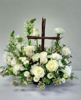 Deluxe Cross of Blessings Funeral Flowers