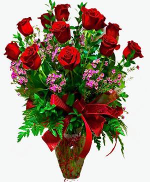Deluxe Dozen Long Stem Roses Vase in Janesville, WI   Floral Expressions
