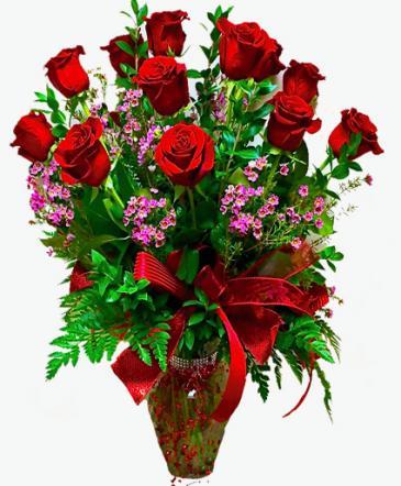 Deluxe Dozen Long Stem Roses Vase