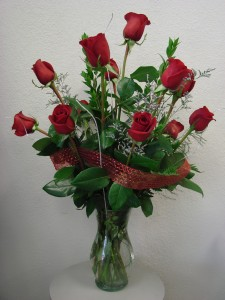 Deluxe Dozen Roses Vase Arrangement in Moore, OK   A New Beginning Florist