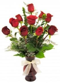 Deluxe Dozen Roses Red Roses Vased