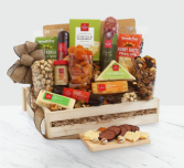 Deluxe Meat & Cheese Wooden Gift Crate .WGG709-N