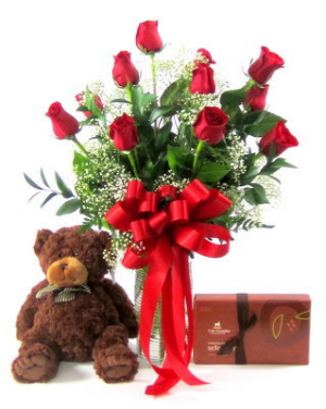 Deluxe Valentine's Day Special 12 Red Roses, Stuffed Bear & Box of Candy in Selma, NC | Selma Florist