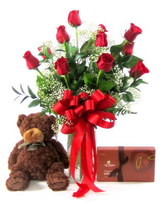 Deluxe Valentine's Day Special 12 Red Roses, Stuffed Bear & Box of Candy