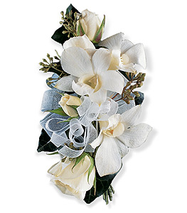 Dendrobium and Rose  corsage