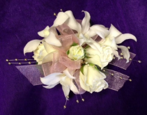 dendrobium orchids and spray roses with pearls wrist corsage