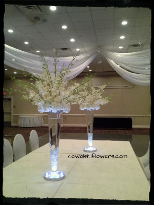 Dendrobium Orchids & Hydrangea Tall Centerpieces in Whitesboro, NY | KOWALSKI FLOWERS INC.