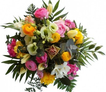 Designer Choice Flower Bouquet Mixed flowers appropriate for the season. Cello bouquet.