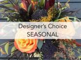 Designer choice- warm colors Vase- bouquet