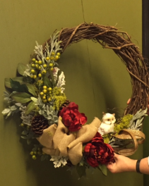 christmas florist door wreaths permanent  choose reds or whites