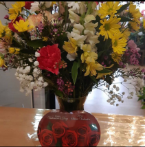 Designers Choice Bright Vase and Chocolates Valentines Special