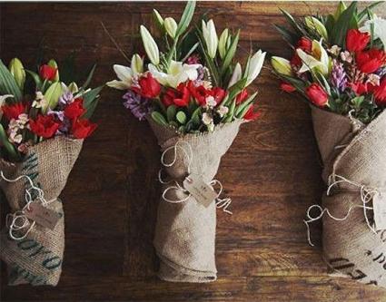 Designers Choice Burlap Wrapped Bouquet Cut Flowers
