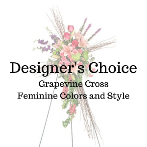 Designer's Choice Feminine Grapevine Cross in Huntington, TX | LIZA'S GARDEN