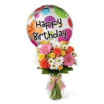 Designer's Choice Happy Birthday Bouquet & Mylar