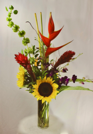 Tropical Sunny Days Tropical arrangement with Sunflowers