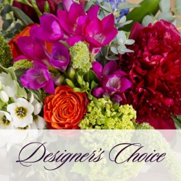 Desinger Choice is ALWAYS the best choice! Fresh Seasonal Floral Arrangements from a small $25.00 arrangement  and up