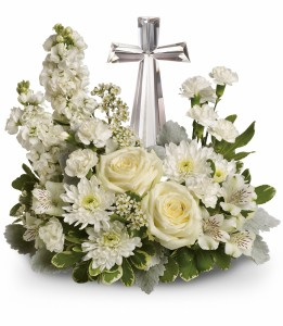 Divine Peace Bouquet * Crystal Cross T229-2A   in Hesperia, CA | ACACIA'S COUNTRY FLORIST