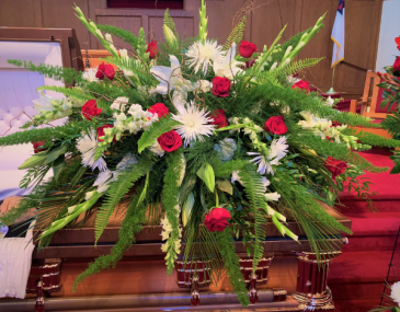 Devoted Husband Casket Flowers