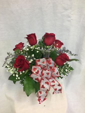 Valentine Half Dozen Rose Arrangement