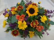 Autumn Centerpiece! Arrangement on both sides  with bright seasonal flowers for Thanksgiving or any day!!