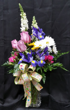 DIAMOND APRIL BIRTHDAY ARRANGEMENT in Baton Rouge, LA | FLOWER BASKET