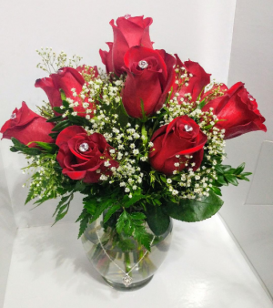 Diamonds and Pearls Rose Arrangement in Barre, VT | Forget Me Not Flowers and Gifts LLC