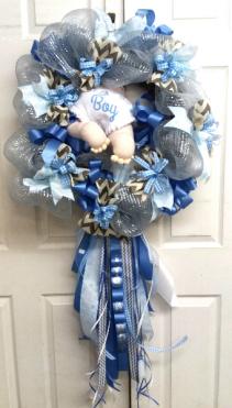 Diaper Baby It's A Boy Door Wreath