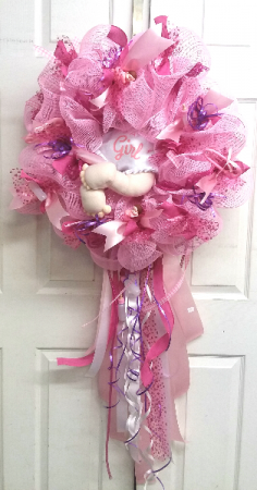 Diaper Baby - It's A Girl Door Wreath