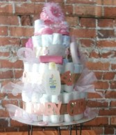 BABY GIRL DIAPER CAKES