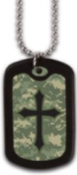 Digital Camo Cross Dogtag Necklace