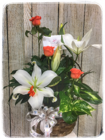 Dish Garden w/ Fresh Cut Flowers Plant