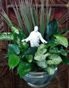 Dish Garden with Porcelain Jesus