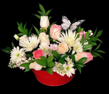 Dish Rose Garden White & Pink