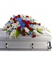 Distinguished Service Casket Spray Sympathy Arrangement