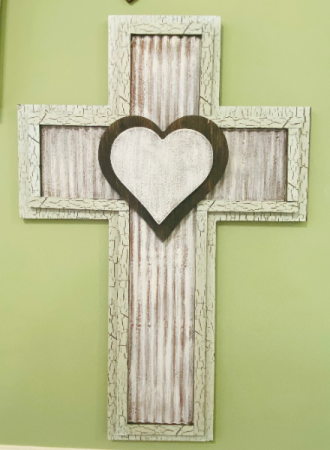 Distressed Tin and Wooden Heart Cross