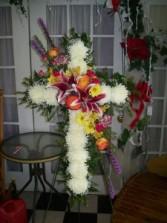 Divine Mercy Cross, Multicolor Floral Arrangement