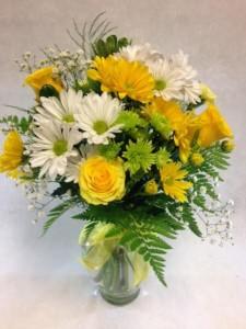 DLF Florist Designed Vase of Fresh Yellow Sunshine Best Seller