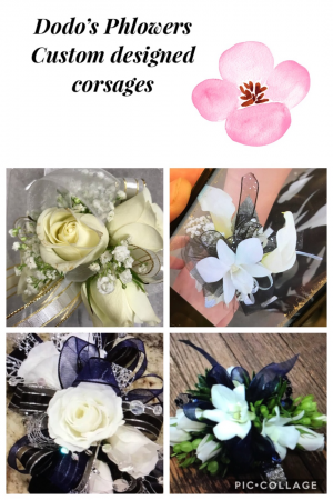Dodos Prom Corsages $29.99 & up. Call to Order.