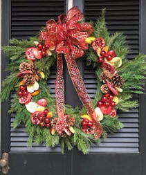 Country Door Wreath Christmas Arrangement