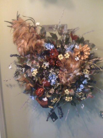 Dos cockerels wreath by perrine custom silks in universal city tx dos cockerels wreath by perrine custom silks mightylinksfo