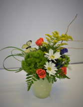DOTS AND BUTTERFLY FLUTTER FRESH FLOWER ARRANGEMENT