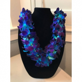 DOUBLE BLUE ORCHID LEI GRADUATION LEI