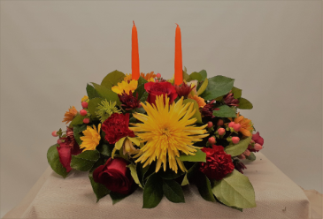 Double Candle Centerpiece Thanksgiving