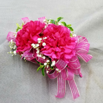 double carnation pin on corsage