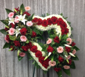 LOVING DOUBLE CLUSTER RED/WHITE OPEN HEART STANDING SPRAY ON 6' STAND