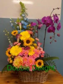 Double Delight Potted and Fresh Flower Combo