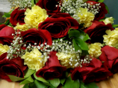 double Delight Roses 12 Rose and 12 Carnation Bouquet