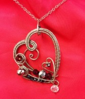 Double Heart Pendant Artful Jewelry Artisan Wire Wrapped Pendants