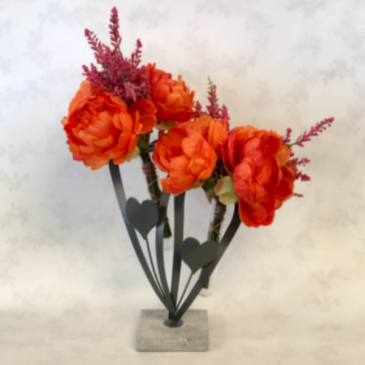Double Heart Peonies Silk Floral Arrangement
